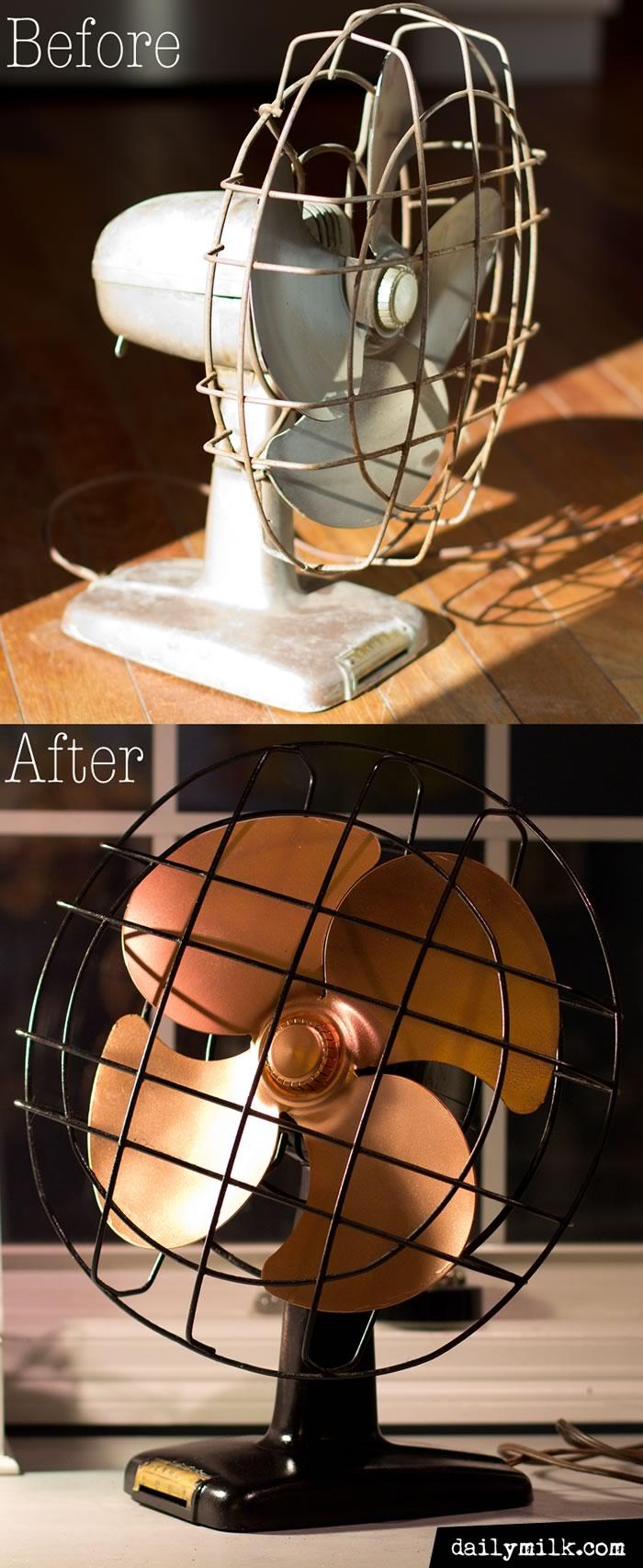 black and gold vintage fan restoration