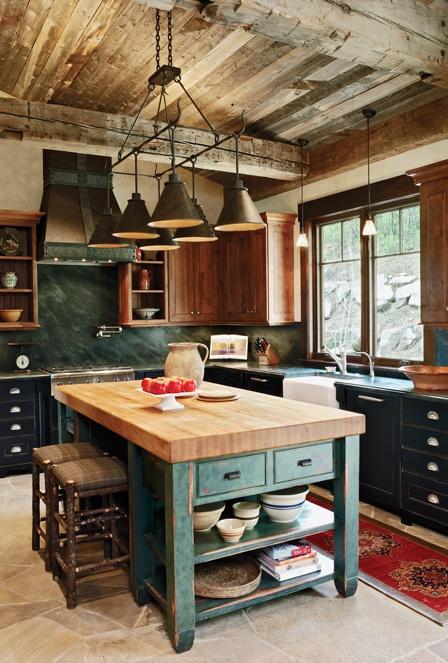 Green Kitchen: Rustic Kitchen Design Inspiration