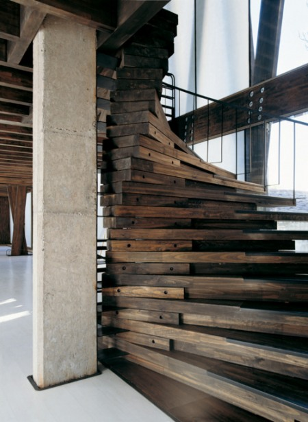 Rustic Wood Spiral Staircase