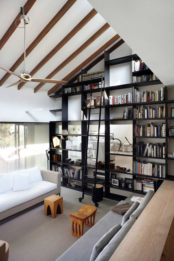 black-bookshelf-with-ladder