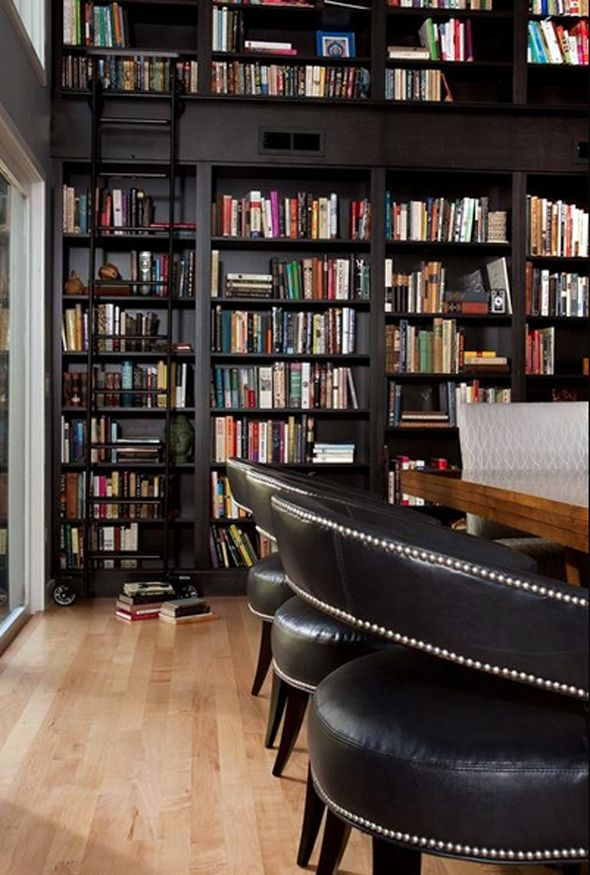 black-bookshelves-sliding-ladder