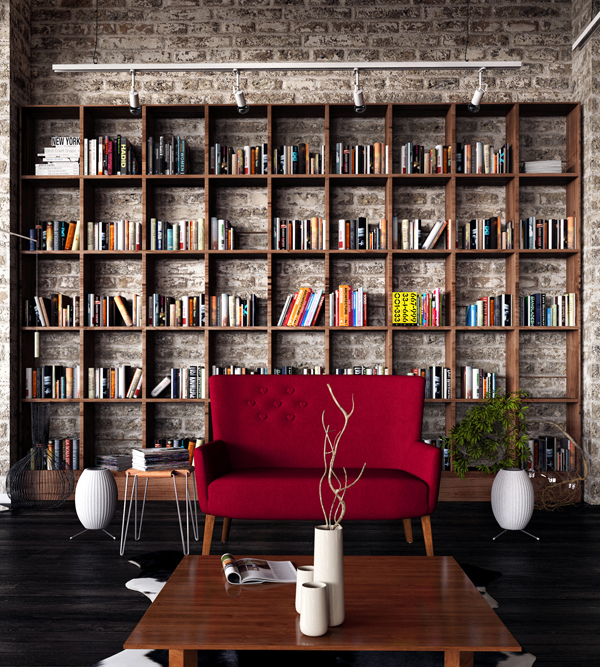 Bookshelves Brick Wall