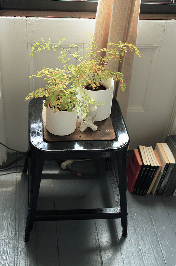 painted-stool-withplants-painted-gray-floor