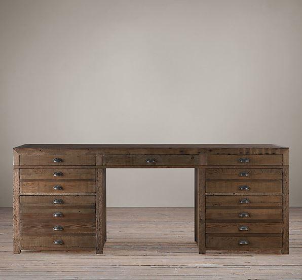 rustic-wood-pine-printmakers-desk